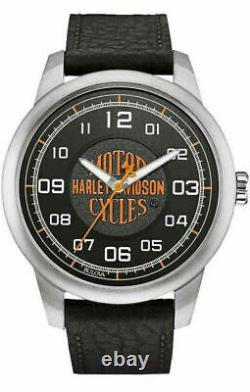 Harley-Davidson LIMITED EDITION Men's Bar & Shield Script Watch, withorange logo