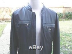 Harley Davidson Leather Jacket B&F Vented Bar & Shield Cafe Racer Embossed Sz Lg