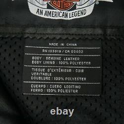 Harley Davidson Leather Jacket SHIFTER Black Embossed Bar Shield Vents Size L