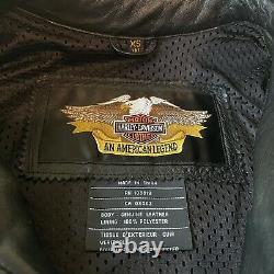 Harley Davidson Leather Jacket SHIFTER XS Black Embossed Bar Shield 98136-03VW