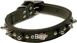 Harley Davidson Leather Spike Pet Dog Collar Contoured Bar & Shield Logo 1 x18