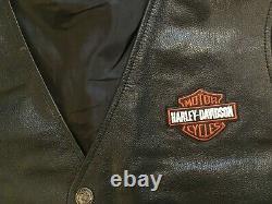 Harley Davidson Leather Vest Mens 3XL Black Orange Stock Bar Shield Snap
