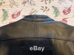 Harley Davidson Men Large L Bar & Shield Logo Black Leather Jacket Perfect