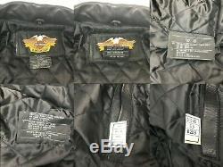 Harley Davidson Men Large L Embossed Bar & Shield Logo Black Leather Jacket