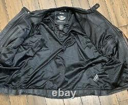Harley Davidson Men Leather Bar & Shield Racing Flames Jacket Size 2XLARGE