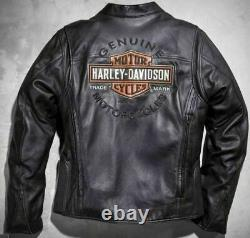 Harley Davidson Men ROADWAY Black Leather Riding Jacket Bar&Shield XL 98015-10VM