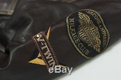 Harley Davidson Men V-TWIN Winged Bar&Shield Brown Leather Vintage Jacket L Rare