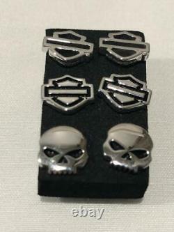 Harley-Davidson Men / Women Bar & Shield/Skull Stud Earrings 3 Pairs HDS0005