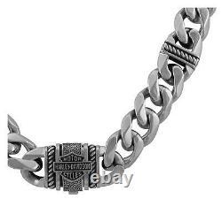 Harley-Davidson Men's Bar & Shield Curb Link Stainless Steel Metal Necklace