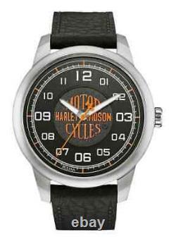 Harley-Davidson Men's Bar & Shield Script Watch, Stainless Steel/Leather 76A155