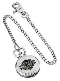 Harley-Davidson Men's Bar & Shield Stainless Steel Pocket Watch with Chain