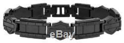 Harley-Davidson Men's Black Steel Bar & Shield Chain Bracelet, Black HSB0190