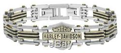 Harley-Davidson Men's Brass & Steel Bar & Shield Chain Bracelet, Black HSB0188