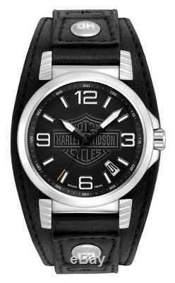 Harley-Davidson Men's Bulova Ghost Bar & Shield Wrist Watch. 76B163