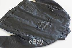 Harley Davidson Men's Embossed Bar&Shield Classic Vintage Black Leather Jacket L