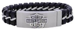 Harley-Davidson Men's Hidden Clasp Bar & Shield Bracelet, Black HSB0182