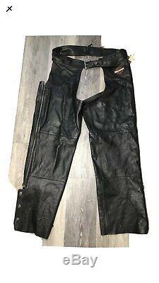 Harley Davidson Men's Leather Chaps 2XL Black Stock 98090-06VM Bar Shield EUC