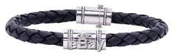 Harley-Davidson Men's Leather Silver Bar & Shield Rope Bracelet, Black HDB0376