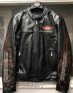 Harley Davidson Men's Medium Leather Bar & Shield Racing Flames Jacket