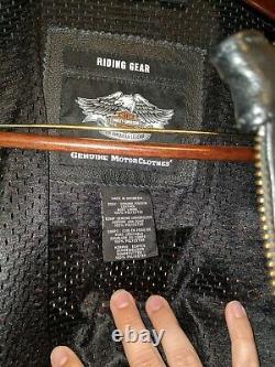 Harley Davidson Men's Medium Leather Bar & Shield Racing Flames Jacket Size XL
