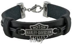 Harley-Davidson Men's Nut & Coil Bar & Shield Black Leather Bracelet HSB0233