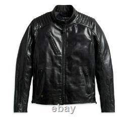 Harley Davidson Men's Temerity Bar&Shield Black Leather Jacket L 98047-19VM