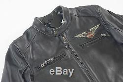 Harley Davidson Men's Top Wing Bar & Shield Black Leather Jacket 98058-13VM M