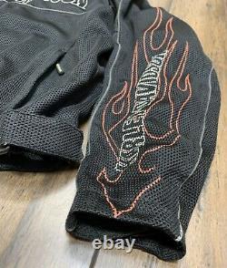 Harley Davidson Mens Bar Shield Racing Flames Ride Ready Mesh Jacket Size Large