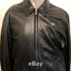 Harley Davidson Mens Bar Shield Spell Out Black Leather Jacket Sz Medium Riding
