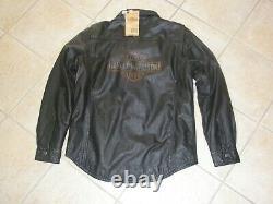 Harley Davidson Mens Bar & Shield Vintage Distressed Leather Shirt Jacket NWT