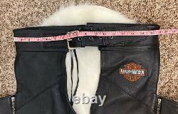 Harley Davidson Mens Black Leather Chaps Stock Bar & Shield Size Large EUC