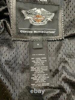 Harley Davidson Mens Black Leather Jacket Size Medium Bar & Shield