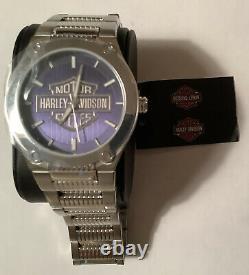Harley-Davidson Mens Bulova Blue Patterned Bar & Shield Stainless Steel Watch
