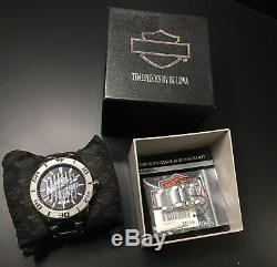 Harley-Davidson Mens Bulova Wrist Watch Embossed Bar&Shield Stainless 76B169