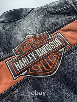 Harley Davidson Mens Classic Black & Orange Leather Jacket Medium Bar & Shield