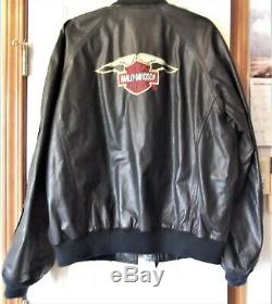 Harley Davidson Mens Large Bar and Shield Leather Jacket Black