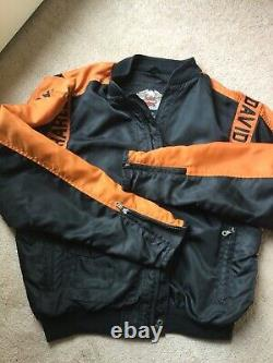 Harley Davidson Mens Nylon Bomber Jacket-L-Orange/Black, Bar and Shield. EUC