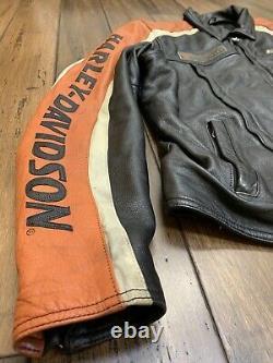 Harley Davidson Mens Racing Stripe Black Leather Jacket Size Large Bar & Shield