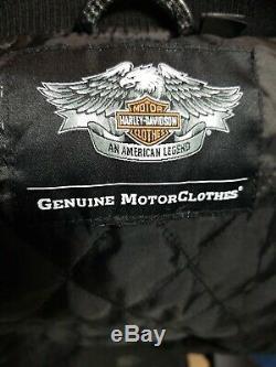 Harley Davidson Motorclothes Black Leather Ridge Bar & Shield Bomber Jacket LG