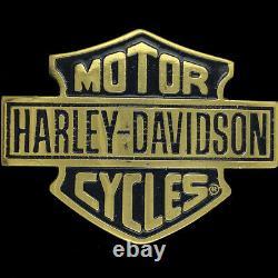 Harley-Davidson Motorcycle Bar Shield Logo Biker Brass Rare NOS Vtg Belt Buckle