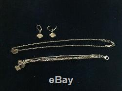 Harley Davidson Motorcycle Bar and Shield Necklace Bracelet and Earrings Set