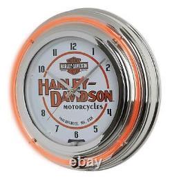 Harley-Davidson Motorcycle Double Neon Bar & Shield Clock, Orange Neon HDL-16623