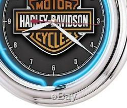 Harley Davidson Neon Clock Wall Clocks Essential Bar Shield Man Cave Den Game