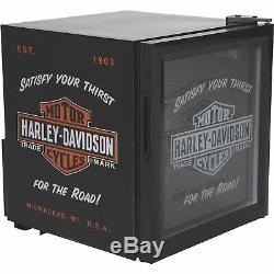 Harley-Davidson Nostalgic Bar & Shield Beverage Soda Cooler Mini Fridge- Black
