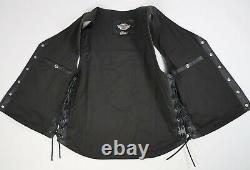 Harley Davidson Piston Bar Shield Snap USA Leather Riding Vest Size L