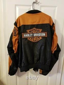 Harley Davidson Racing Bomber Jacket Nylon Black Orange Bar Shield Size 4XL