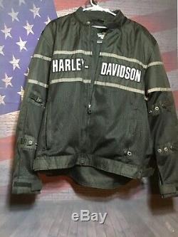 Harley-Davidson Riding Gear Black Gray Armored Jacket Bar Shield Biker XL