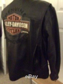 Harley Davidson Roadway Black Leather Jacket Bar&Shield 98015-10VM Size 2XL RARE