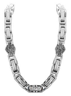 Harley-Davidson Stainless Steel Byzantine Bar & Shield Necklace 210 / HSN0026