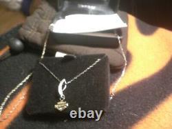 Harley Davidson Stamper 10k White Gold Necklace Bar & Shield Pendant New In Box